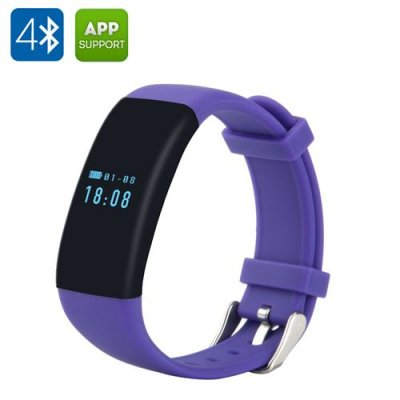 DFit Smart Sports Bracelet - IP66 Waterproof, Bluetooth 4.0, Bright 0.66 Inch OLED, Pedometer, Heart Rate Monitor (Purple)