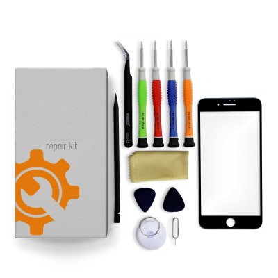 iPhone 7 Plus Glass Lens Screen Repair Kit + Tools + Repair Guide - Black