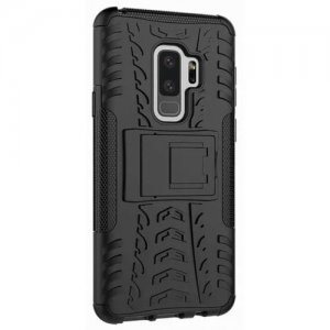 Shockproof with Stand Back Cover Armor Hard PC for Samsung Galaxy S9 Plus Case - BLACK