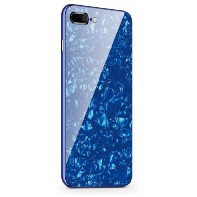 Tempered Glass with Built-in Magnet Flip Cover for iPhone 7 Plus - iPhone 8 Plus - BLUE