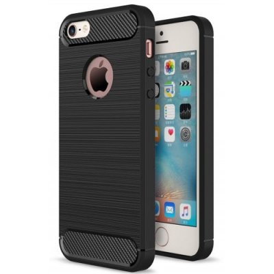 ASLING Carbon Fiber TPU Soft Case Cover for iPhone 5 - 5S - SE - BLACK