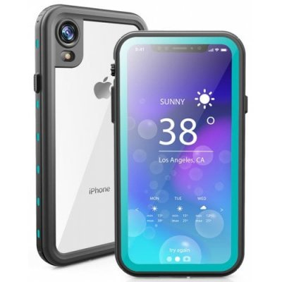 Waterproof Anti-fall Dust-proof Snowproof Mobile Phone Case Transparent Back Cover For iPhone XR - DEEP SKY BLUE