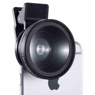 Mobile Phone SLR Len 0.45 Wide-angle Macro External Camera - BLACK