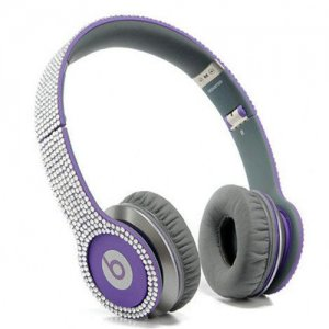 Beats By Dr Dre Solo HD studded diamond Headphones Purple
