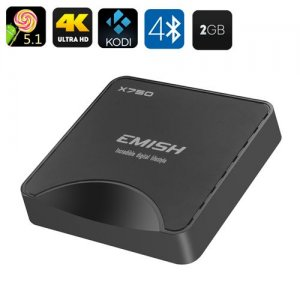 EMISH X750 Android TV Box - 4K, Android 9.1, Amlogic S905 Quad Core CPU, Bluetooth 4.0, Kodi 15.2