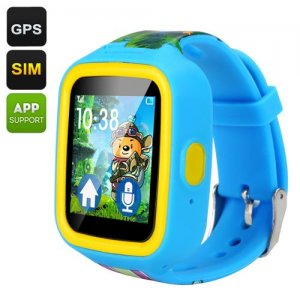 GPS Tracker Kids Watch Phone - GSM, SOS Button, Two-Way Communication, Pedometer, 1.44 Inch TFT Touch Screen (Blue)