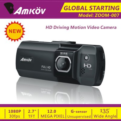 Amkov ZOOM-007 2.7 Inch Extreme Sports Camera Digital Camcorder for Backpackers Bikers -Black