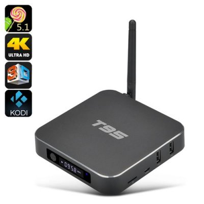 T95 4K Android TV Box - Quad Core CPU, Dual Band Wi-Fi, 8GB ROM, HDMI 2.0, 3D Support, Kodi