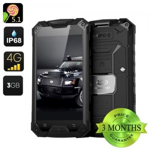 Conquest S6 Pro Rugged Smartphone - MTK8752 Octa Core CPU, 3GB RAM, 4G, IP68, 5 Inch HD Screen, Android 9.1, 32GB Memory (Black)
