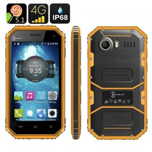 Ken Xin Da W6 Rugged Smartphone - IP68 Waterproof, Dust Proof, Shock Proof, 4G, Android 9.1, Dual SIM, Quad Core (Yellow)