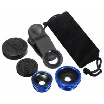 3 in 1 Mobile Phone Camera Lens Kit 180 Degree Fish Eye Lens + 2 in 1 Micro Lens + Wide Angle Lens Blue - BLUE