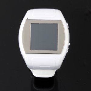 MQ007 Watch Phone Quad Band 1.5 Inch Touch Screen Camera Bluetooth FM Cellphone with Bluetooth Earphone - White