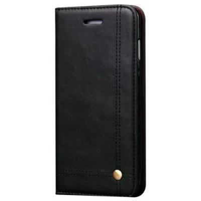 for Samsung S9 Case Genuine Leather Flip Magnetic Card Slots Holder Kick Stand - BLACK