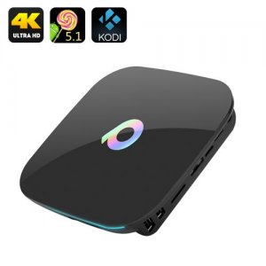 Q-Box 4K TV Box - Android 9.1, Amlogic S905 Quad-Core CPU, KODI, Dual Wi-Fi, Bluetooth, HDMI