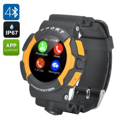 No.1 A10 Sports Smart Watch - IP67, Bluetooth 4.0, Heart Rate Sensor, Pedometer, SMS, Call Answer, Notifications (Yellow)