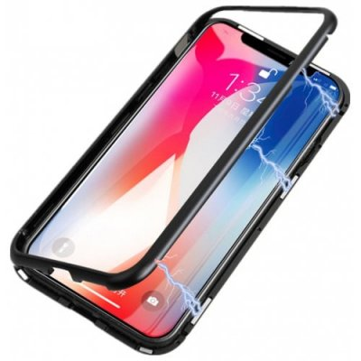 Luxury Magneto Magnetic Adsorption Case for iPhone X - BLACK