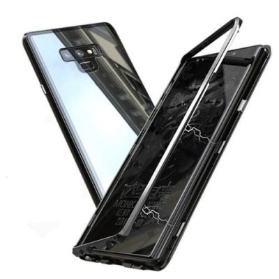 Magnetic Adsorption Metal Tempered Glass Case Cover for Samsung Galaxy Note 9 - BLACK