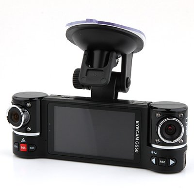 GS50 720P 2.7 inch Dual Camera Car DVR GPS Motion Detection G-sensor Black