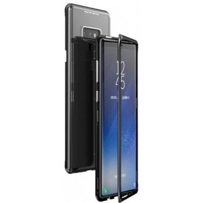 Magnetic Adsorption Metal Tempered Glass Cell Phone Cover for Samsung Note 9 - BLACK
