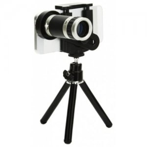 Wireless Bluetooth Universal 8x Optical Zoom Telescope Camera Lens with Tripod - BLACK