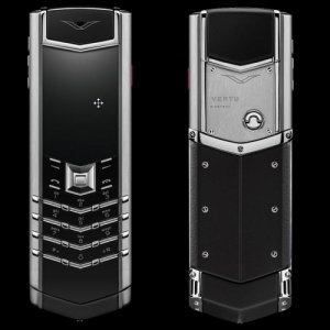 Vertu Signature Stainless Steel Black Leather luxury Phone