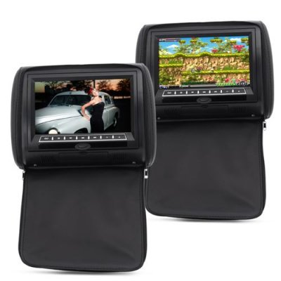 9 Inch Car Headrest Monitor with DVD Player (Pair) - 800x480 Resolution, Built-in Speaker, Built-in Wireless Game Function