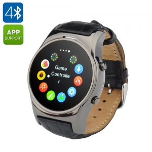 GSM Smart Watch Phone - 1.3 Inch Display, Bluetooth 4.0, Heart Rate Monitor, Pedometer, SMS Syncing, Camera Trigger (Black)