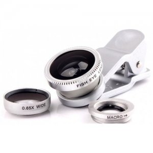 3 in 1 Mobile Phone Camera Lens Kit 180 Degree Fish Eye Lens + 2 in 1 Micro Lens + Wide Angle Lens Silver - SILVER