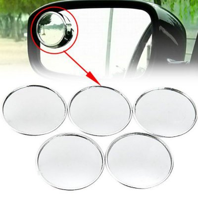 5pcs Auxiliary Round Mirror for Car Rearview Mirror Silver
