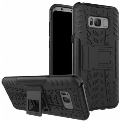 Case for Samsung S8 Plus Shockproof Back Cover Armor Hard Silicone - BLACK
