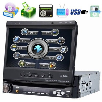 7 Inch Car DVD Player with SD + FM + Detachable Panel