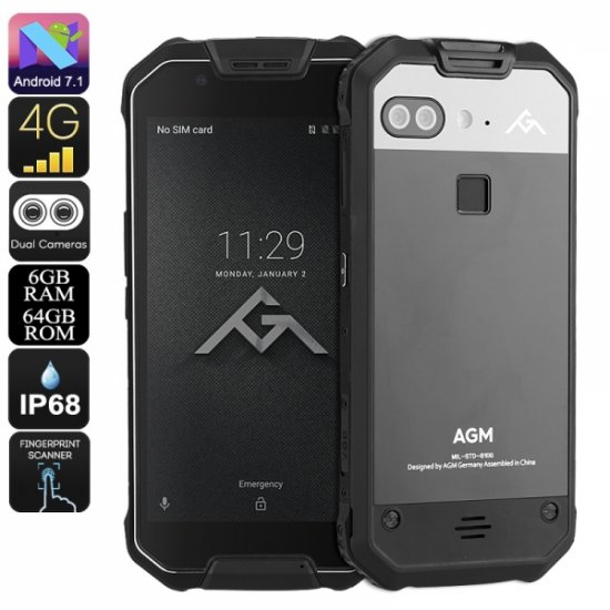 AGM X2 - 5 5 Inch Screen Front Fingerprint Scanner Android Phone