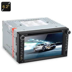 2 DIN 6.2 Inch Touch Screen Car DVD Player - SiRFatlasV(A6) S3661 GPS, Display APP, Bluetooth, Universal Fit, Micro SD Card Slot