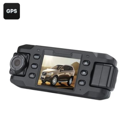 Carcam III Car DVR - 2 x 180 Degree Rotating Cameras, 2 Inch LCD Screen, G-Sensor, GPS, Motion Detection, 140 Degree Lens