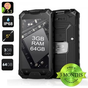Conquest S6 Pro 4G Rugged Smartphone - 3GB RAM, IP68, Android 9.1, 64GB Memory, 5 Inch Screen, Octa Core (Black)
