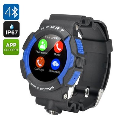 No.1 A10 Sports Smart Watch - IP67, Bluetooth 4.0, Pedometer, Heart Rate Sensor, Notifications, SMS, Call Answer (Blue)
