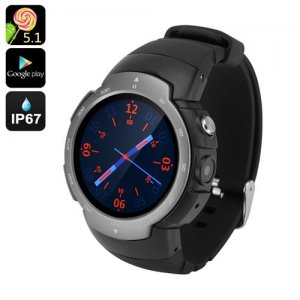 "Android Phone Watch ""Z9"" - GSM + 3G, 1.33 Inch Screen, Android 9.1, Google Play, IP67, 5MP Camera, Heart Rate Monitor (Grey)"