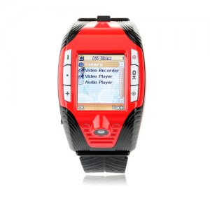 F3 Quad Band Watch Phone 1.3 Inch Touch Screen Camera MP3/MP4 with Bluetooth Earphone - Red