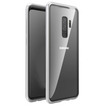 Magnetic Adsorption Tempered Glass Metal Case for Samsung Galaxy S9 Plus - SILVER