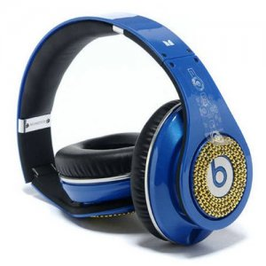 Beats By Dr Dre Studio Gold Diamond Headphones Blue