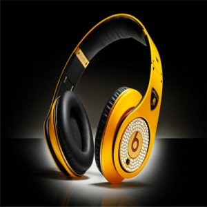 Beats By Dre Studio High Definition Powered Isolation Headphones Lamborghini Edition Yellow with Diamond