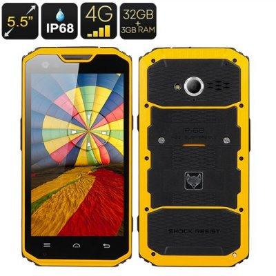 MFOX A7 Pro Rugged Smartphone - 5.5 Inch 1920x1080 Screen, MT6797 Octa Core CPU, IP68, 4G, Android 11.0, 3GB+32GB (Yellow)