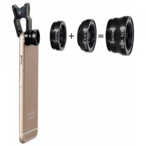 Three-In-One Phone Lens Fisheye-Wide-Telephoto Lens - BLACK