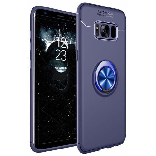 Case for Samsung GALAXY S8 Stand Magnetic Bracket Finger Ring Phone Cover - DEEP BLUE