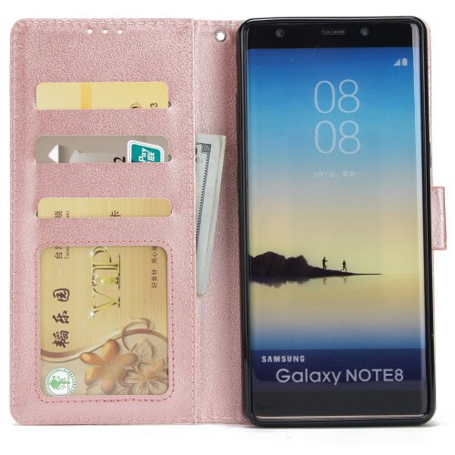 Cover Case for Samsung Note 8 Flip Wallet PU Leather Magnetic Fundas Silicone - PINK