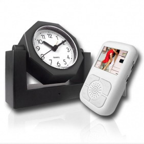 Wireless Spy Camera Alarm Clock Receiver with LCD Display Screen